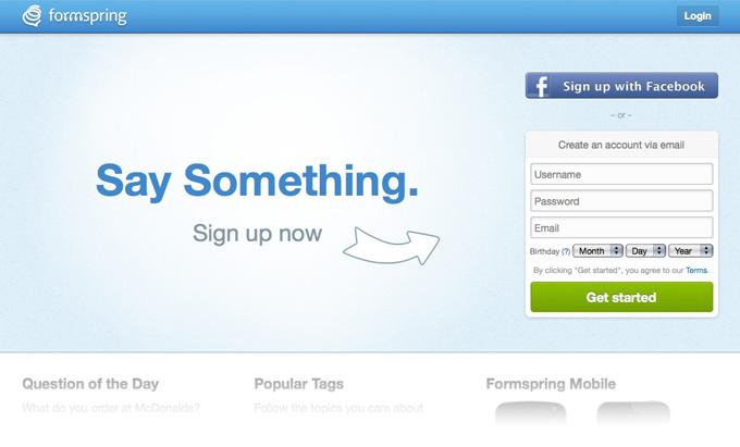 Formspring.me Homepage Slideshow 5